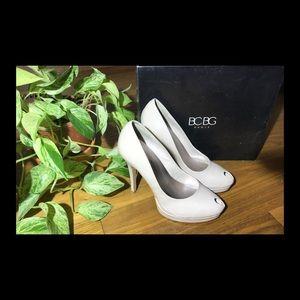 BCBG Patent Leather peep toe heels